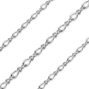 Sterling Silver Figure 8 Chain 2.5x2.1mm (sold by the foot)