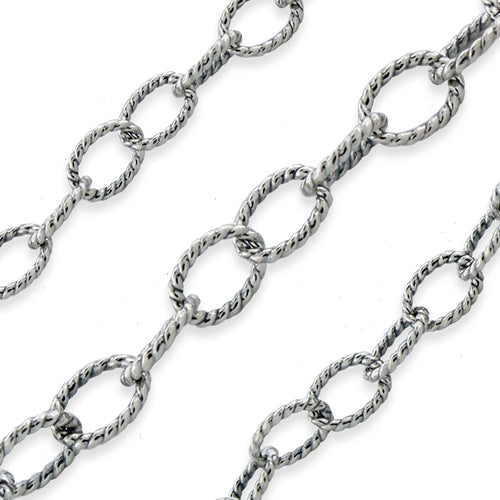Sterling Silver Oxidized Twisted Cable Chain 3.7mm (sold by the foot)