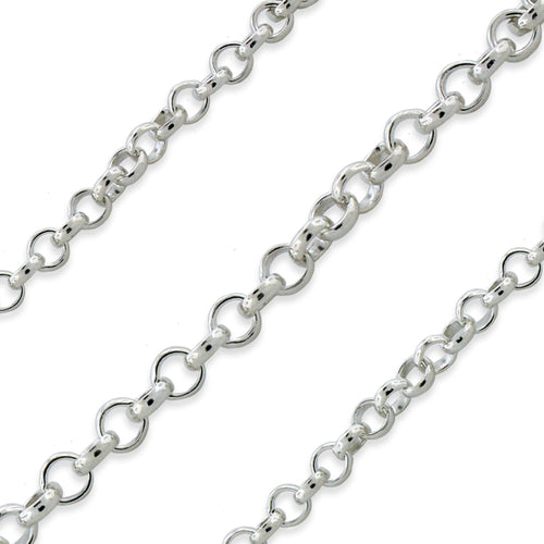 Sterling Silver Rolo Chain 2.4mm (sold by the foot)