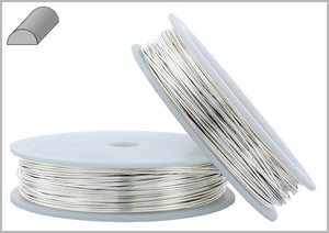 Sterling Silver 22 Gauge Half Hard (2# hard) - Half Round Wire 0.63mm 1oz approx. 62ft