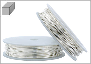 Sterling Silver 22 Gauge Half Hard (2# Hard) - Square Wire 0.64mm 1oz approx. 25ft