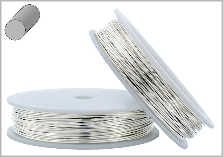 Sterling Silver 26 Gauge Half hard (2# Hard) - Round Wire 0.41mm 1oz approx. 76ft