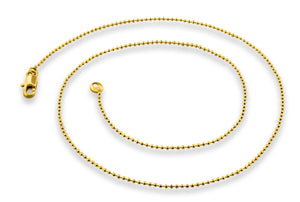 "Gold Plated 16"" Bead Chain Necklace 1.20mm"