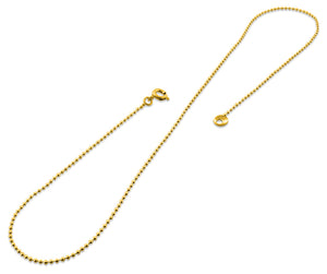 "Gold Plated 24"" Bead Chain Necklace 1.50mm"