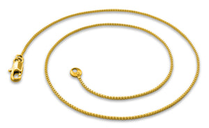 "Gold Plated 16"" Box Chain Necklace 1.2mm"