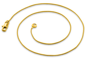 "Gold Plated 16"" Box Chain Necklace 1.0mm"