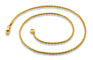 "Gold Plated 24"" Rope Chain Necklace 1.73mm"