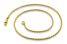 "Load image into Gallery viewer, Gold Plated 30"" Rope Chain Necklace 1.73mm"