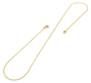 "Gold Plated 24"" Bead Chain Necklace 1.20mm"