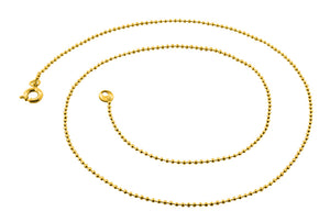 "Gold Plated 22"" Bead Chain Necklace 1.20mm"
