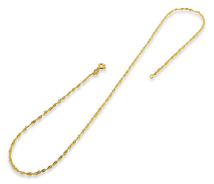 "14K Gold Plated Sterling Silver 20"" Singapore Twist Chain 2.0MM"