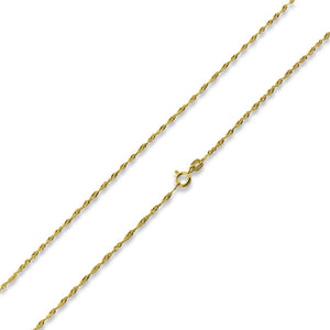 "14K Gold Plated Sterling Silver 22"" Singapore Twist Chain 2.0MM"