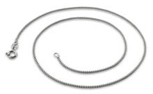 "Load image into Gallery viewer, Rhodium Sterling Silver 18"" Box Chain 1MM"