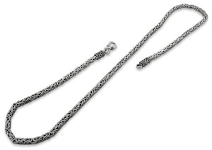 "Sterling Silver 8"" Square Byzantine Chain Bracelet - 3.5MM"