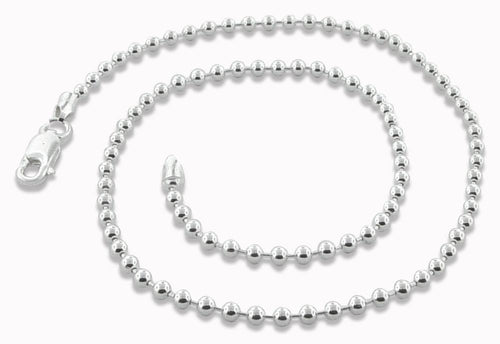 "Sterling Silver 8"" Bead Chain Bracelet - 3.0MM"