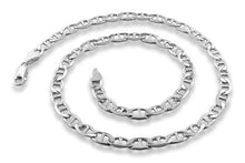 "Load image into Gallery viewer, Sterling Silver 7"" Flat Marina Chain Bracelet  - 4.4MM"