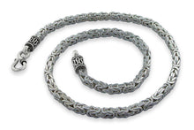"Load image into Gallery viewer, Sterling Silver 8"" Square Byzantine Chain Bracelet - 4.0MM"