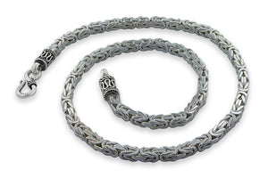 "Sterling Silver 8"" Square Byzantine Chain Bracelet - 4.0MM"