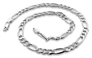 "Sterling Silver 8"" Figaro Chain Bracelet - 5.6MM"