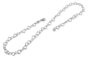 "Sterling Silver 7"" Heart Chain Bracelet - 6.0mm"