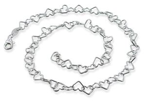 "Sterling Silver 8"" Heart Chain Bracelet - 6.0mm"