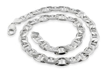 "Load image into Gallery viewer, Sterling Silver 8"" Flat Marina Chain Bracelet - 9.0MM"