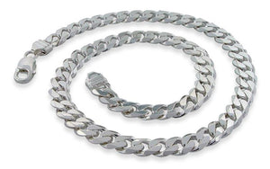 "Sterling Silver 8"" Curb Chain Bracelet - 9.5MM"