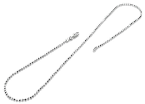 "Sterling Silver 24"" Bead Ball Chain Necklace 1.8MM"