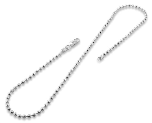 "Sterling Silver 24"" Bead Ball Chain Necklace 3.0MM"