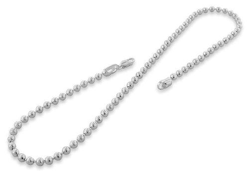 "Sterling Silver 24"" Bead Ball Chain Necklace 4.0MM"