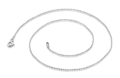 "Sterling Silver 18"" Bead Diamond Cut Chain Necklace 1.0mm"