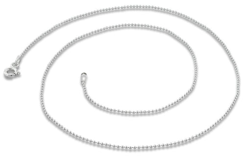 "Sterling Silver 16"" Bead  Chain Necklace 1.0mm"