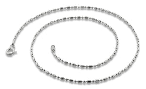 "Sterling Silver 8"" Bar & Bead Chain Bracelet 1+1 1.6mm"