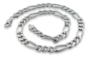 "Sterling Silver 9"" Figaro Chain Bracelet - 8.2MM"