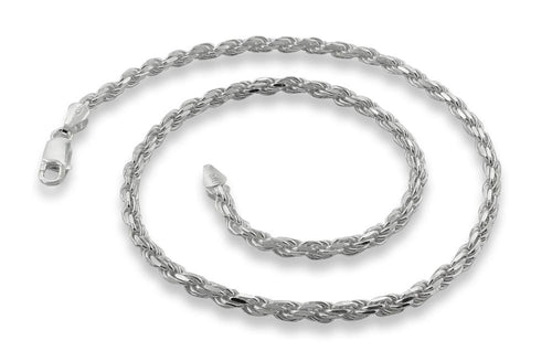 "Sterling Silver 16"" Italian Rope Chain Necklace 3.5MM"