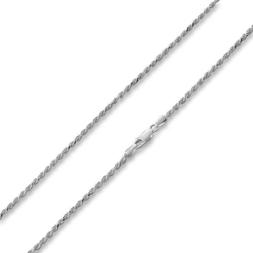 "Sterling Silver 18"" Italian Diamond Cut Rope Chain Necklace 2.4MM"
