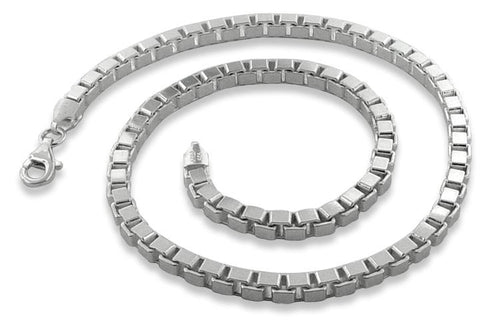 "Sterling Silver 20"" Box Chain Necklace 4.3MM"