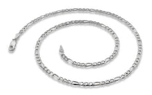 Load image into Gallery viewer, Sterling Silver Figaro Chain Necklace 3.1mm
