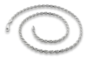 "Sterling Silver 28"" Italian Rope Chain Necklace 3.2MM"
