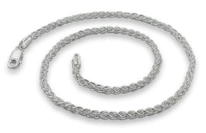 Sterling Silver Spiga Wheat Chain Necklace - 3.4MM
