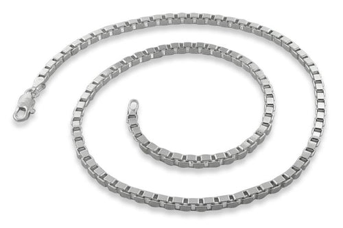 "Sterling Silver 24"" Box Chain Necklace 3.1MM"