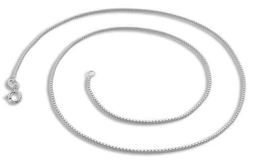 "Sterling Silver 30"" Box Chain Necklace 0.85MM"