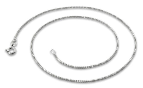 "Sterling Silver 30"" Italian Box Chain Necklace 1MM"