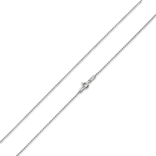 "Sterling Silver 7"" Bead Chain Bracelet 1.2mm"