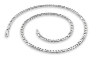 "Sterling Silver 7"" Curb Chain Bracelet 3.8mm"