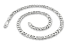 "Load image into Gallery viewer, Sterling Silver 7"" Curb Chain Bracelet 5.6mm"
