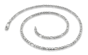 "Sterling Silver 7"" Figaro Chain Bracelet 3.0 mm"
