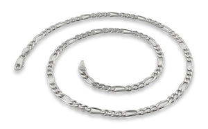 "Sterling Silver 7"" Figaro Chain Bracelet 4 mm"