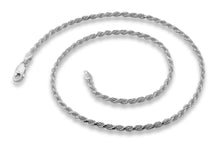 "Load image into Gallery viewer, Sterling Silver 7"" Rope Chain Bracelet 2.4MM"