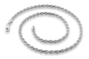 "Sterling Silver 7"" Rope Chain Bracelet 3.2 MM"